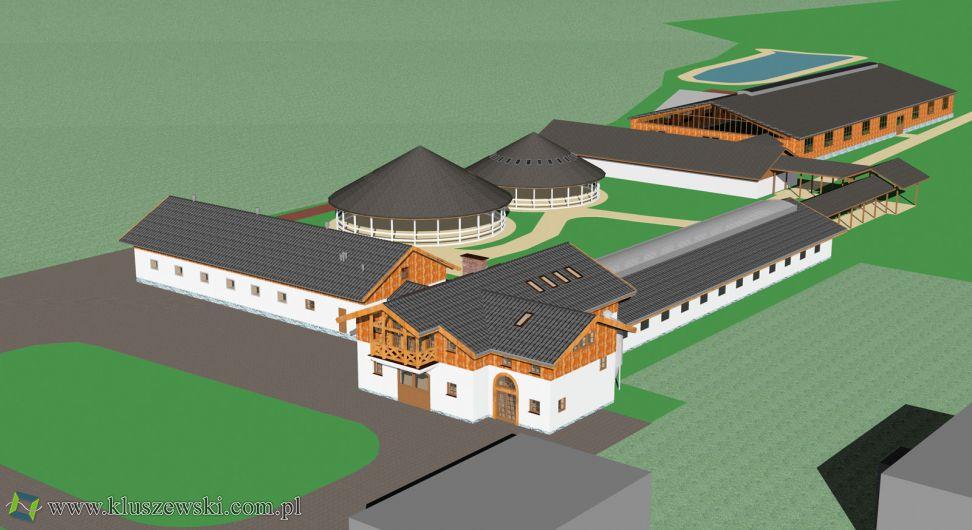 projekt ośrodka jeździeckiego 3d